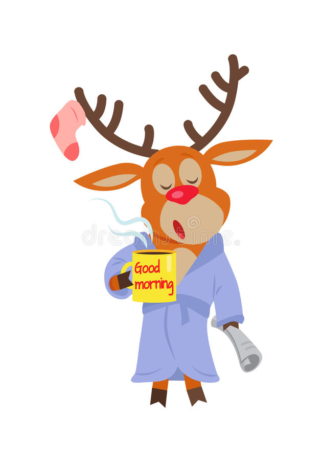 Deer in Sleepwear Isolated. Reindeer in Morning. Deer in sleepwear isolated on white. Reindeer in the morning drink a cup of coffee. Deer with a cup with text royalty free illustration