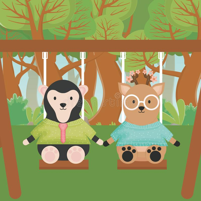 Deer and sloth bear playing on the swing forest fantasy fairy tale stock illustration