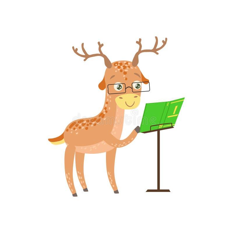 deer smiling bookworm zoo character wearing glasses and reading a rh dreamstime com Deer Clip Art Black and White Deer Outline