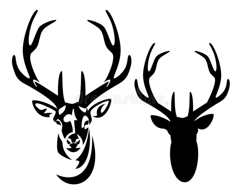 Deer stag with big antlers black and white vector portrait royalty free illustration