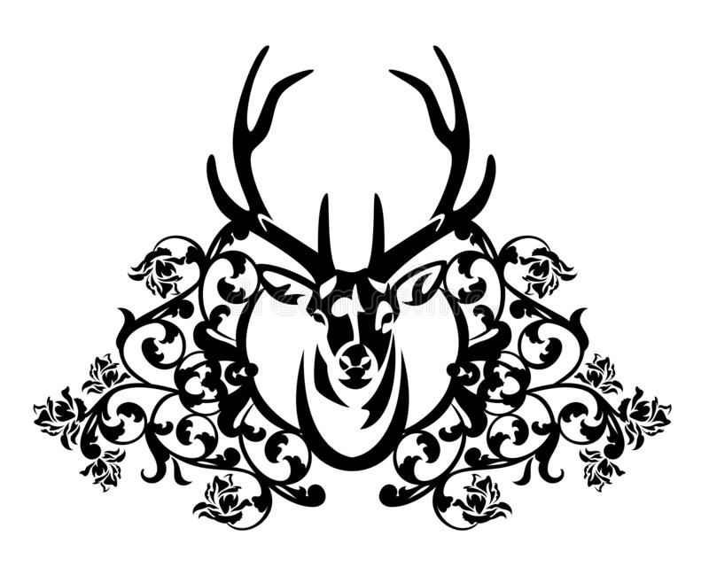 Deer stag and rose flowers antique style black and white vector heraldic design vector illustration