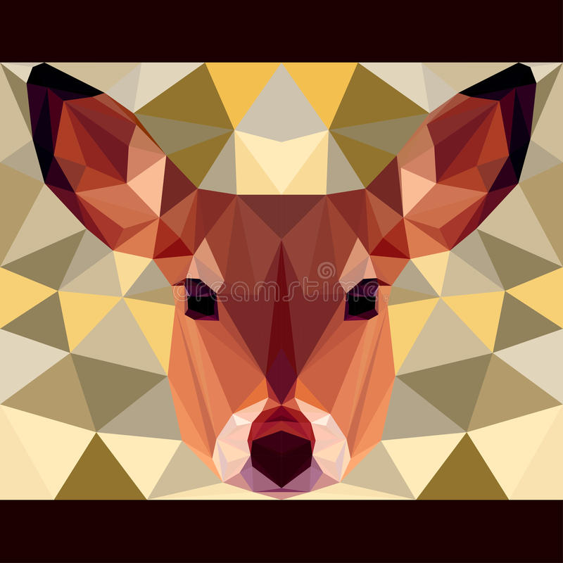Deer stares forward. Nature and animals life theme background. Abstract geometric polygonal triangle illustration for design card, invitation, poster, banner stock illustration