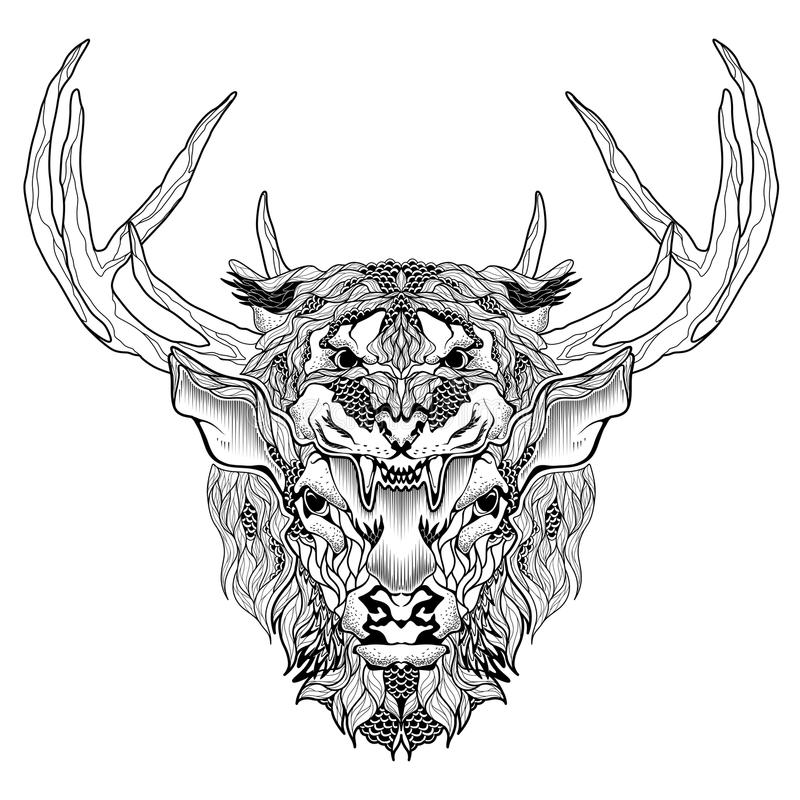 Deer and tiger head tattoo. psychedelic, zentangle style royalty free illustration