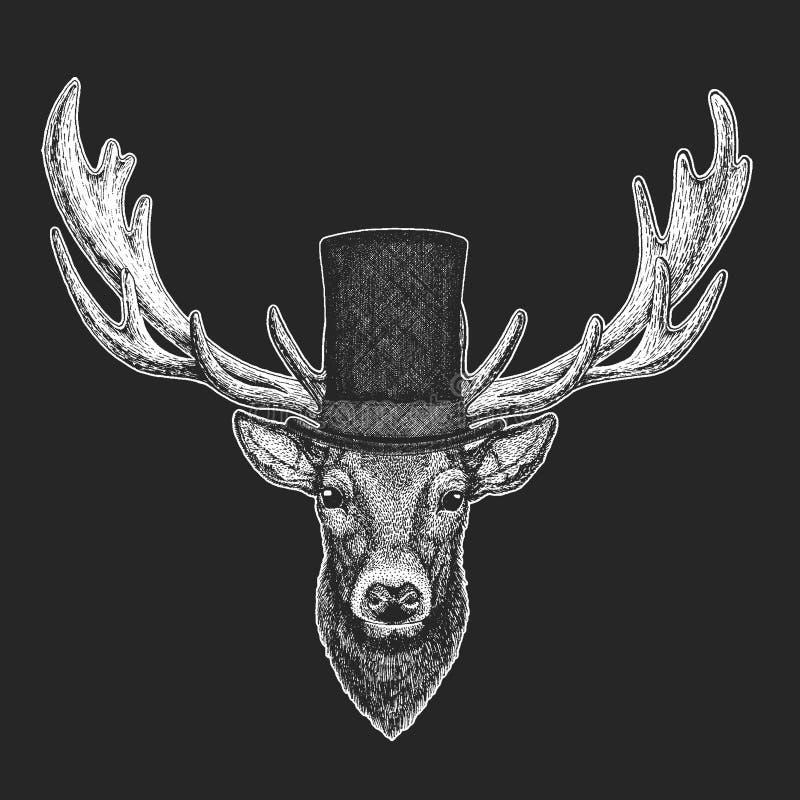 Deer Top hat, cylinder. Hipster animal, gentleman. Classic headdress. Print for children t-shirt, kids clothing. Deer Hand drawn illustration for tattoo, emblem royalty free illustration