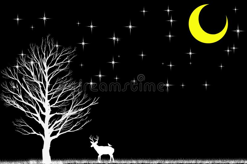 Deer and tree in the dark and white scene with black stars and m. Oon. white, flying, santa, moon, claus, deer, sleigh stock illustration