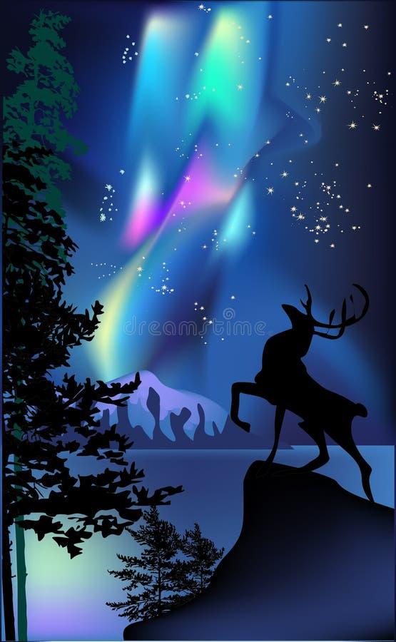 Deer under aurora illustration royalty free stock photos