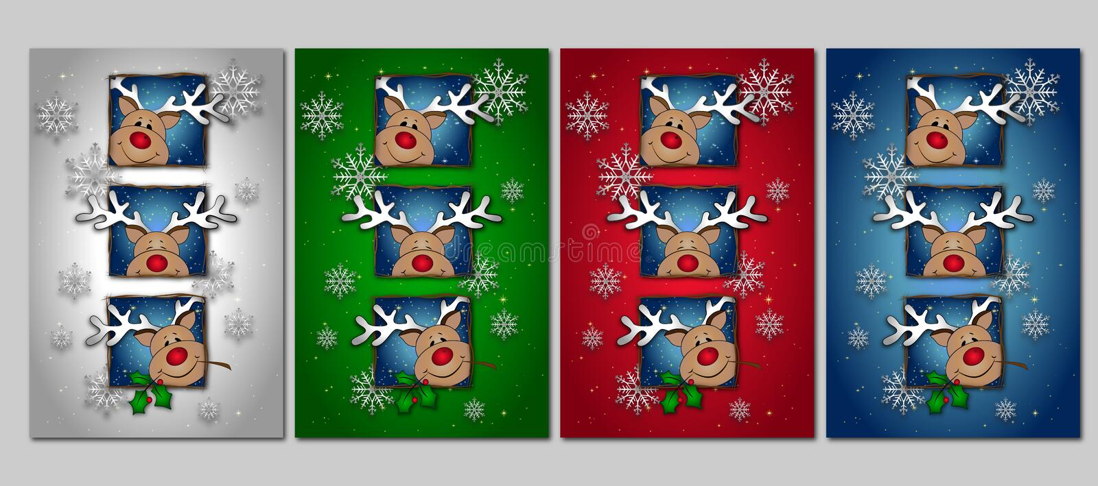 Deer. Vector christmas card in different colors with deer royalty free illustration
