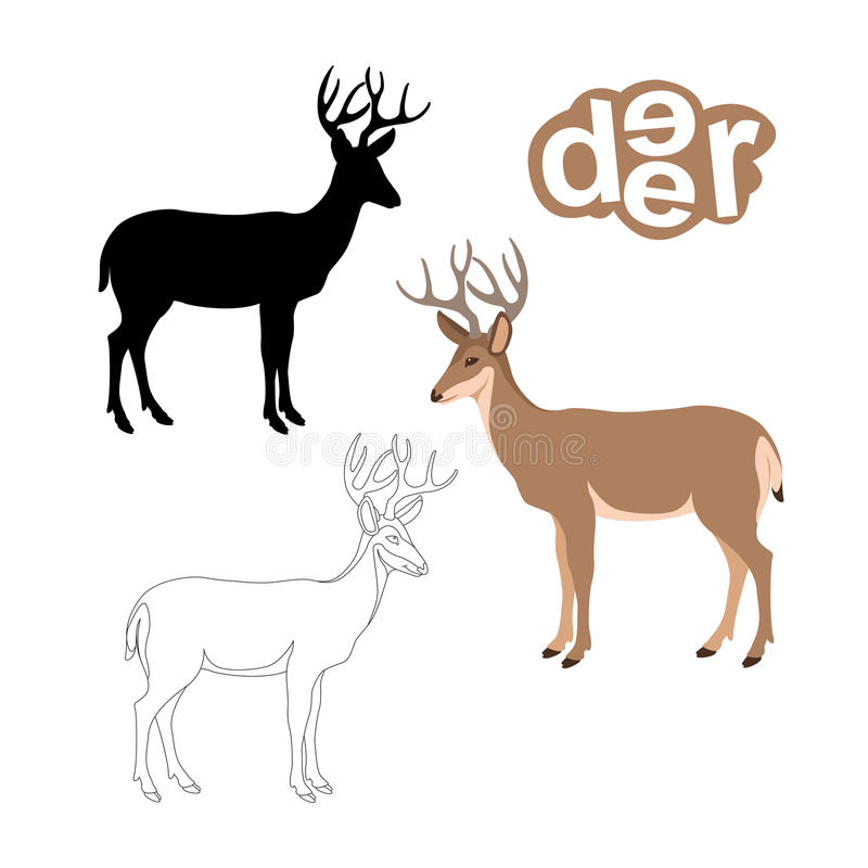 Download Deer Vector Illustration Style Flat Black Silhouette Stock Vector - Illustration: 92632531