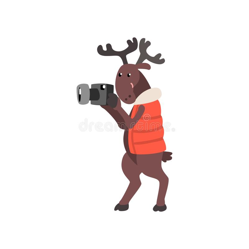 Deer in warm vest taking pictures with a camera, funny animal cartoon character traveling on vacation vector stock illustration