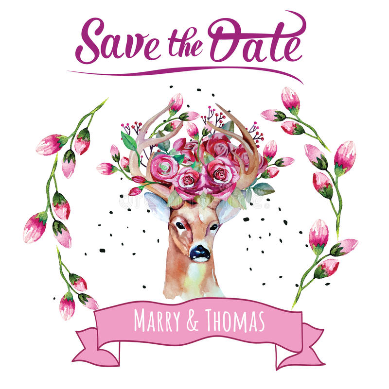 Deer watercolor. Save the date. eps 10 Wedding stock illustration