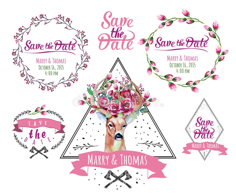 Deer watercolor. Set of frame with floral wedding. Deer watercolor. Save the date. eps 10 Wedding illustration. Eco style hipster illustration in vector vector illustration