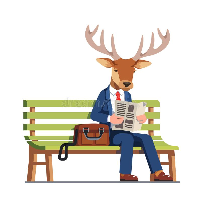 Deer wearing business man suit reading newspaper vector illustration