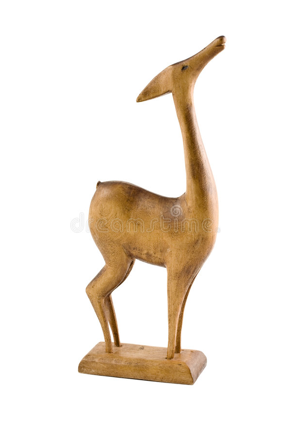 Free Deer Wood Sculpture Isolated Stock Photography - 5236862