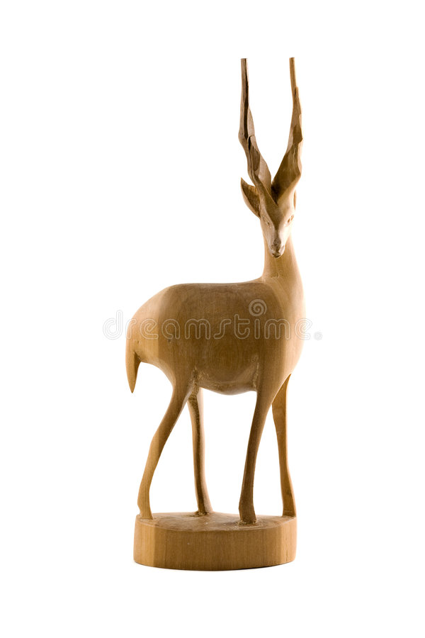 Free Deer Wood Sculpture Isolated Royalty Free Stock Images - 5236869