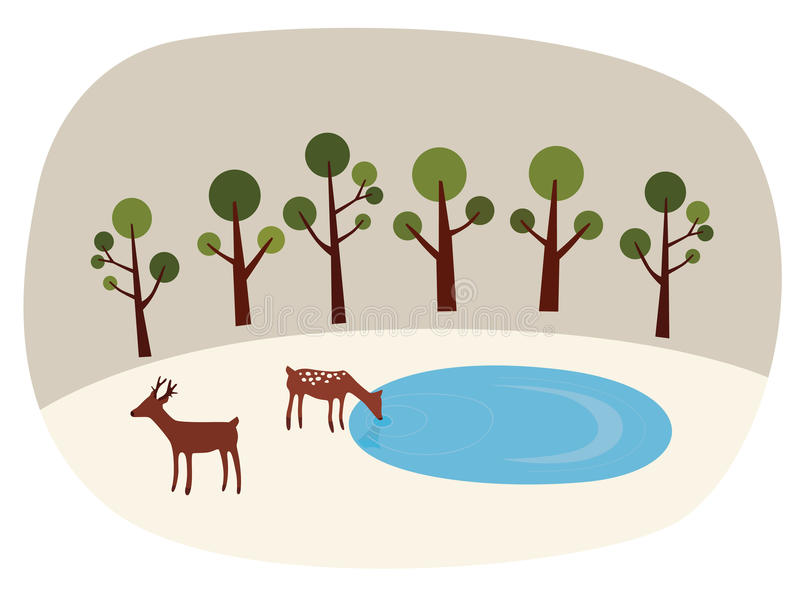 Deer Woods. Paper cut-out style vector image of deer family in the deep woods vector illustration