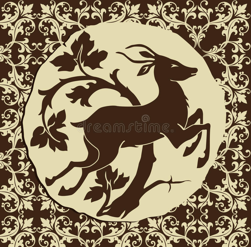 Download Deer In The Woods stock vector. Image of damask, antlers - 12359364
