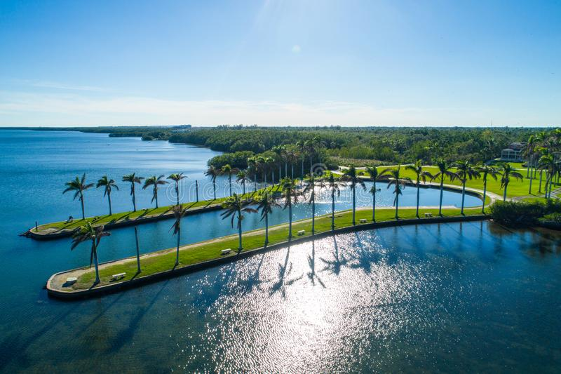 Deering Estate Miami Florida USA. Aerial image of Deering Estate Miami Florida Biscayne Bay USA royalty free stock photos