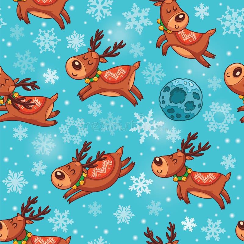 Download Deers Χριστουγέννων στο άνευ ραφής σχέδιο κινούμενων σχεδίων Διανυσματική απεικόνιση - εικονογραφία από bagel, χριστούγεννα: 62708305