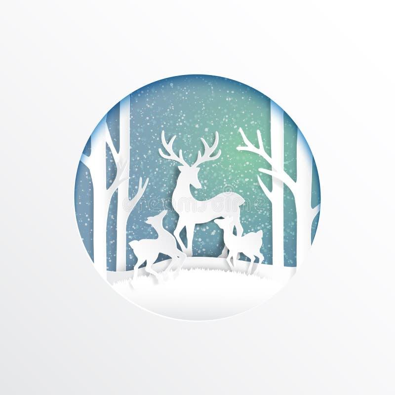 Deers family joyful on winter season. Deers family joyful on snow and winter season background.For merry christmas and happy new year paper art style.Vector stock illustration
