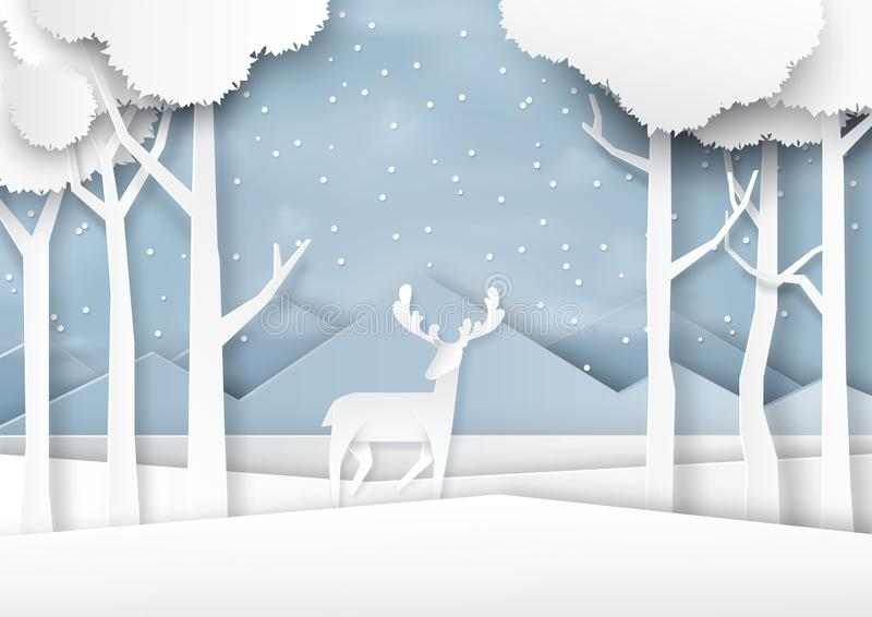 Deers joyful on snow and winter season landscape paper art style. Deers on snow and winter season forest landscape background paper art style for merry christmas vector illustration