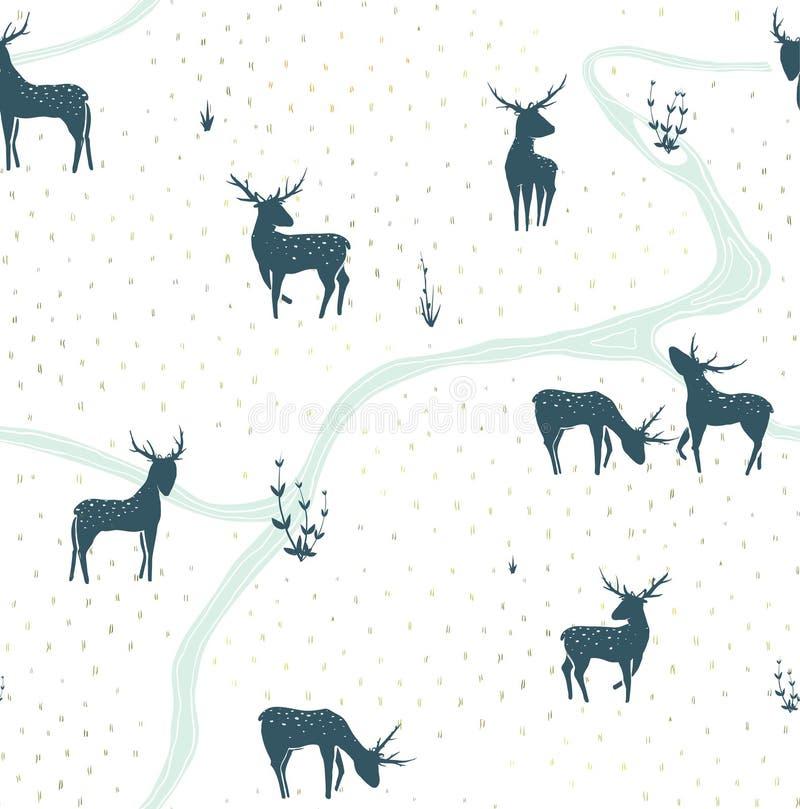 Deers landskap den delikata sömlösa modellen vektor illustrationer