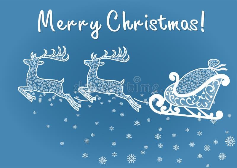 Deers- och jultomten släde stock illustrationer