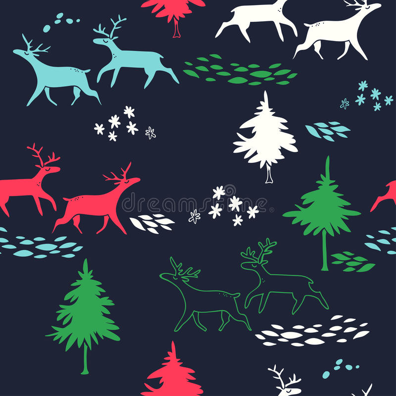 Deers in winter forest. New Year vector seamless pattern with trees and animals. stock illustration