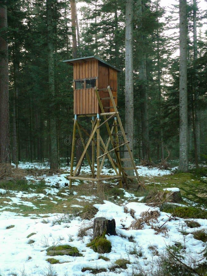 Deerstand w lesie otaczającym drzewami, łąka w przodzie z śniegiem, Wysoki siedzenie przy zimą zdjęcie stock