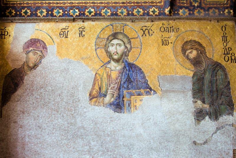 Deesis Mosaic of Jesus Christ stock photos