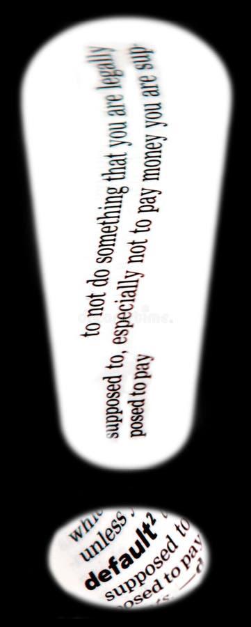 Default. Conceptual image of default economic term, arranged in exclamation mark stock image