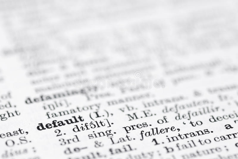 Default; Definition in English Dictionary. Shallow DOF, focus on default bottom leftl royalty free stock photography