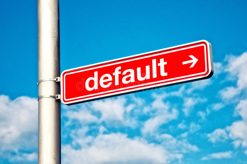 Default, directional sign. Red street sign with DEFAULT title royalty free stock image