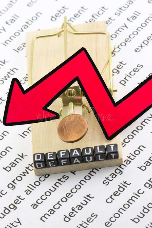 The default of the economy. As a concept with mousetrap royalty free stock photo