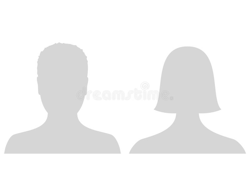Default male and female avatar profile picture icon. Grey man and woman photo placeholder. royalty free stock images