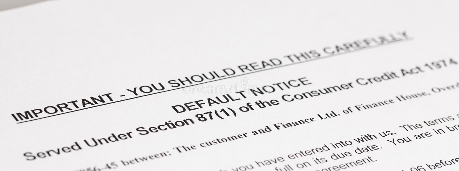 Default Notice. A copy of a letter stating a law, Default Notice, no genuine customer details used stock photography