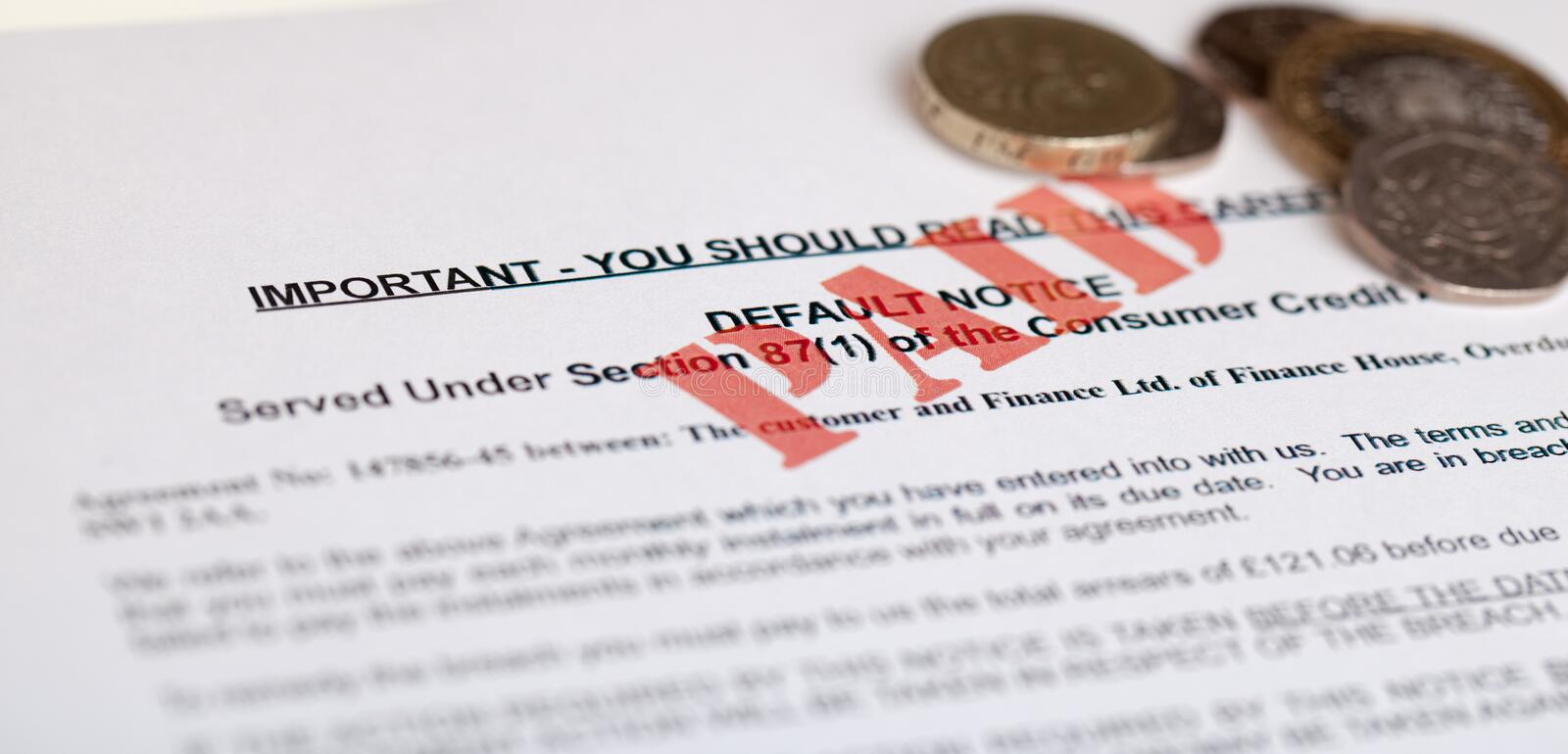 Default notice. With money, (no genuine customer info, used royalty free stock photo