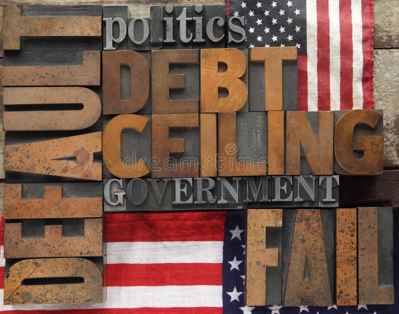 Default and related words with flags. Default, debt ceiling and other words in wood and metal type royalty free stock images