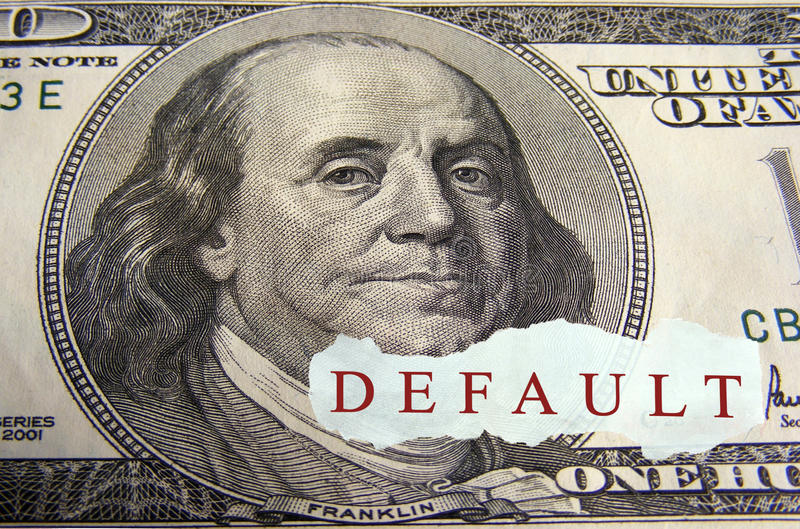 Default. Text on a paper scrap over one hundred dollar on foreground royalty free stock images