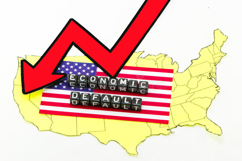 The default of the US economy. On a white background stock image