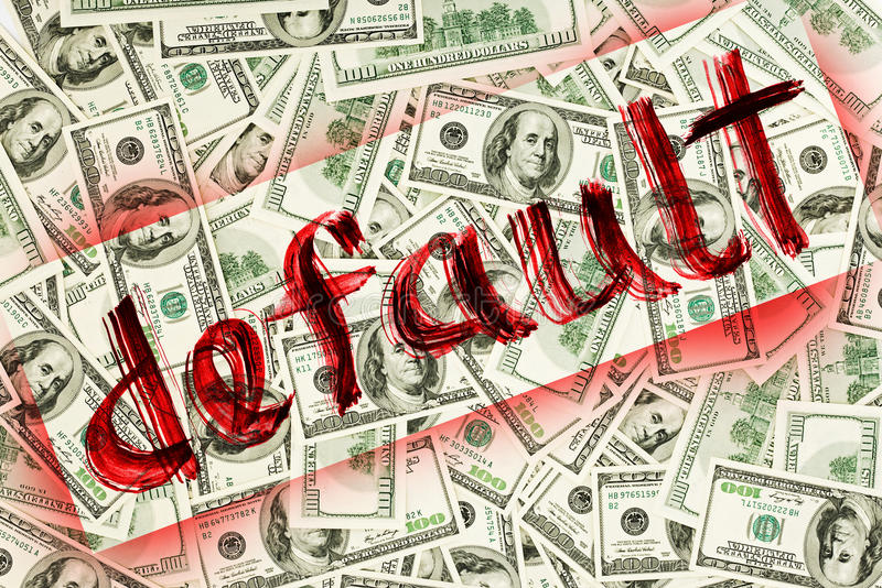 Default of USA dollar currency. Concept photo royalty free stock image