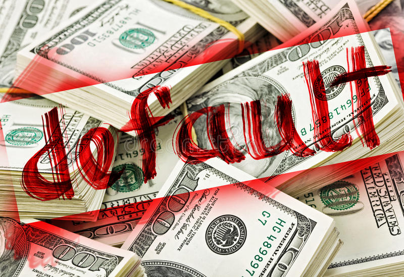 Default of USA dollar currency. Concept photo royalty free stock images