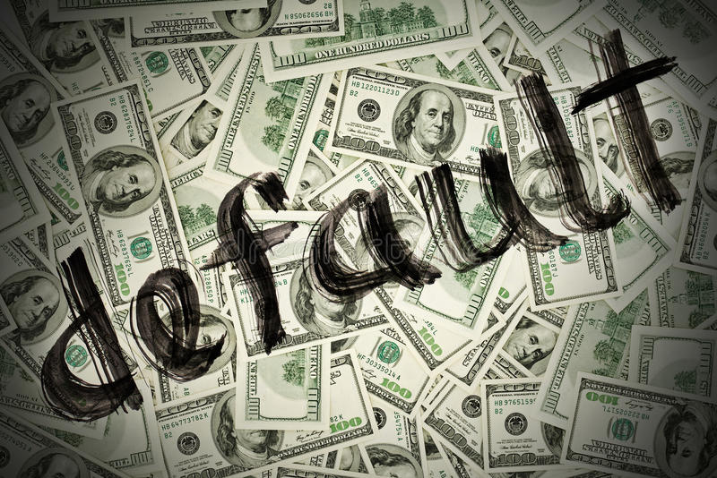 Default of USA dollar currency. Concept photo royalty free stock photos