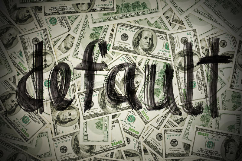 Default of USA dollar currency. Concept photo stock photo