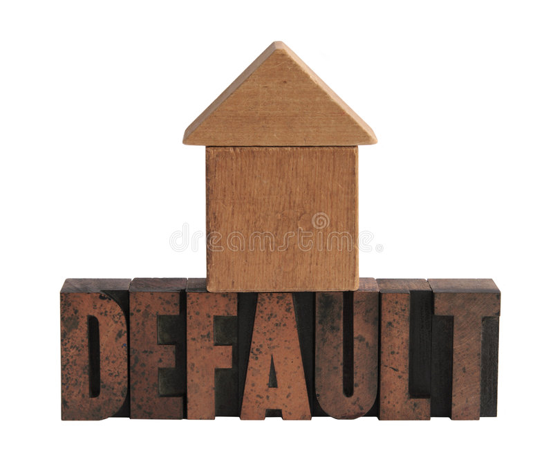 Default in wood type 2. The word 'default' in old letterpress wood letters with a shape in wood blocks that could be either a house or an arrow pointing upward royalty free stock photo