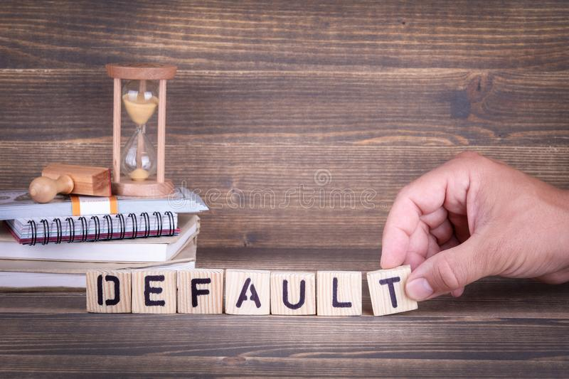 Default. wooden letters on the office desk. Informative and communication background stock images