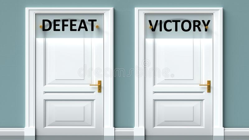 Defeat and victory as a choice - pictured as words Defeat, victory on doors to show that Defeat and victory are opposite options. While making decision, 3d stock illustration