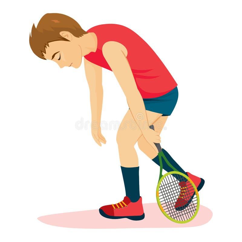 Defeated Tennis Man royalty free illustration