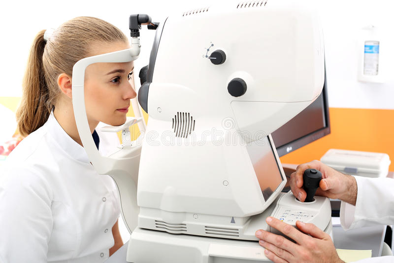 Defect of vision, computer vision test. The patient in ophthalmology clinic during the study of computer vision defects royalty free stock images