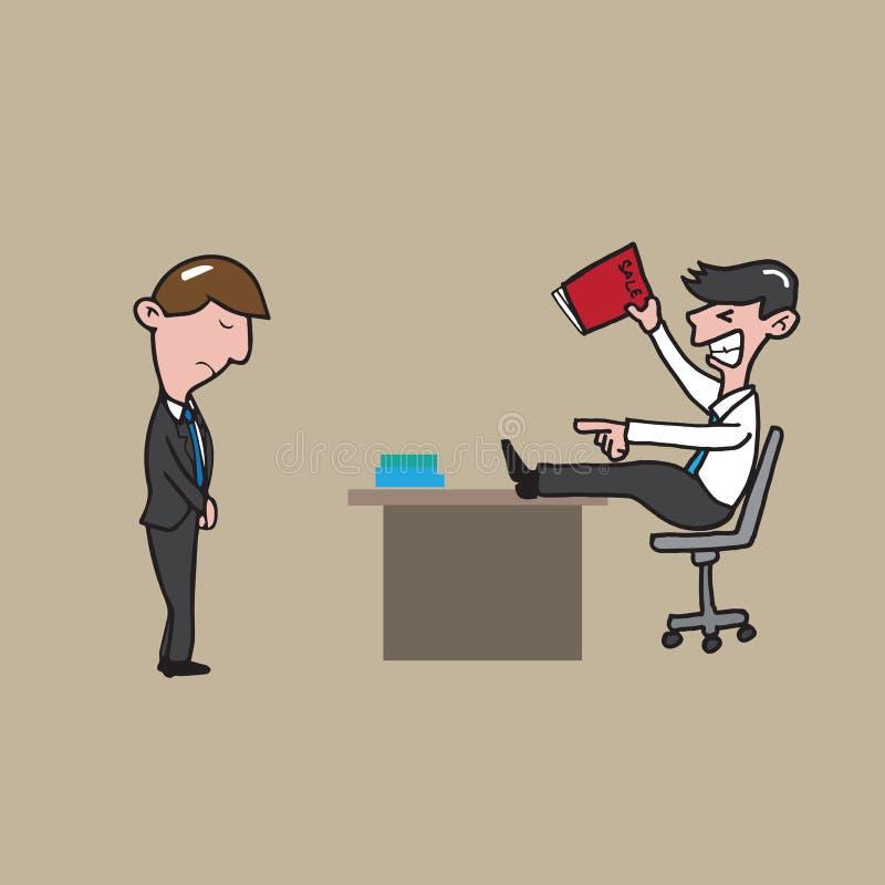 Defeito irritado em chefe do homem de negócios ilustração do vetor