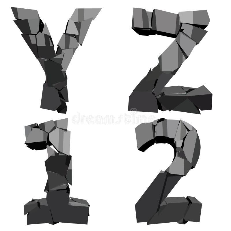 Defekte Buchstaben 3D stock abbildung